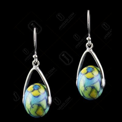 Silver Green Pottery Hanging Earrings