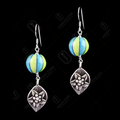 Blue Pottery leaf Hanging Earrings