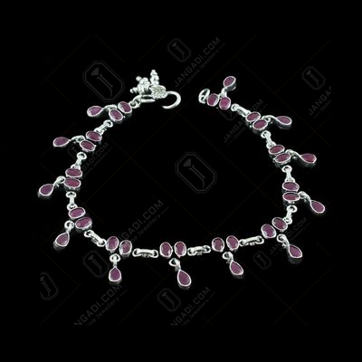 OXIDIZED SILVER RED CORUNDUM ANKLET