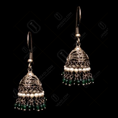 OXIDIZED SILVER GREEN HYDRO AND  PEARL BEAD HANGING JHUMKAS