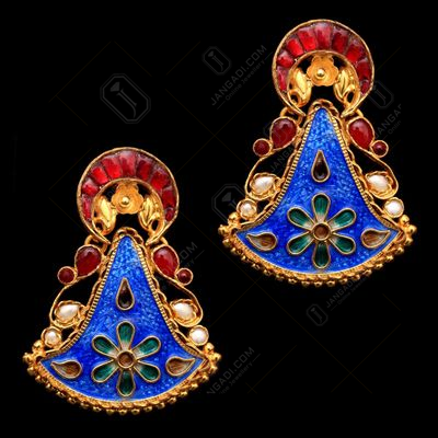GOLD PLATED ENAMEL KUNDAN  DROPS EARRINGS