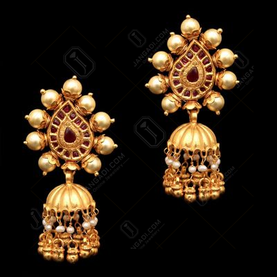 GOLD PLATED RED ONYX PEARL BEADS DROPS EARRINGS