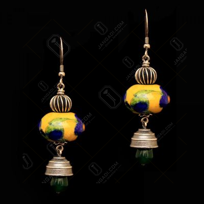 BLUE POTTERY GREEN ONYX HANGING JHUMKAS