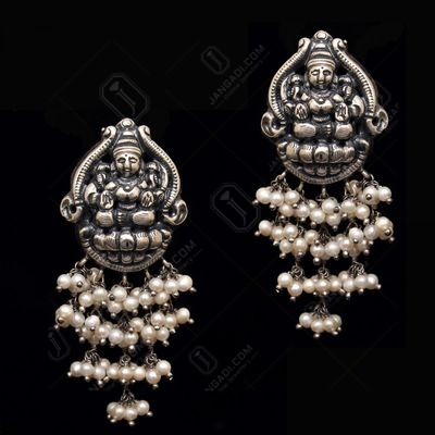 OXIDIZED SILVER LAKSHMI DROPS EARRINGS WITH PEARL BEADS