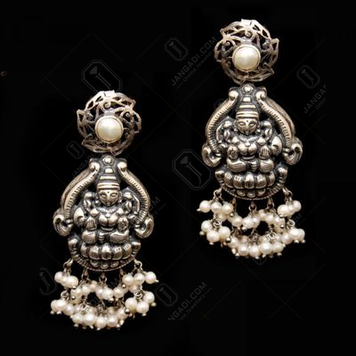 OXIDIZED SILVER LAKSHMI NAKASH PEARL BEADS DROPS EARRINGS