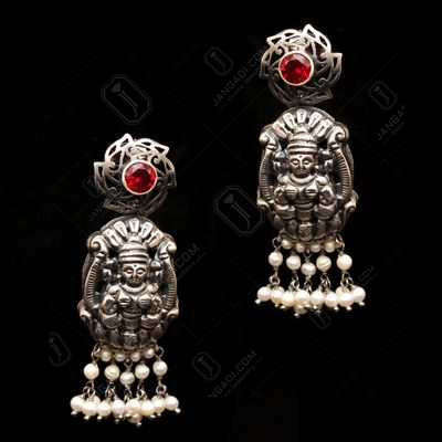 OXIDIZED SILVER LAKSHMI NAKASH RED CORUNDUM AND PEARL BEADS DROP