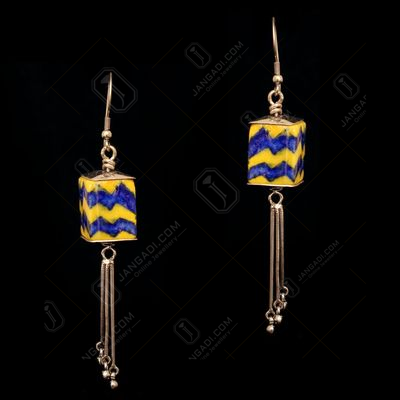STERLING SILVER BLUE POTTERY HANGING EARRINGS