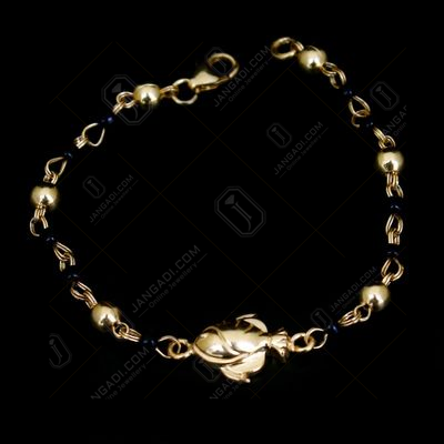 GOLD PLATED BLACK BEAD BABY BRACELET
