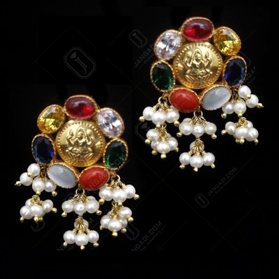 GOLD PLATED PEARL BEADS LAKSHMI COIN EARRINGS