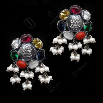 OXIDIZED SILVER PEARL BEADS LAKSHMI COIN EARRINGS