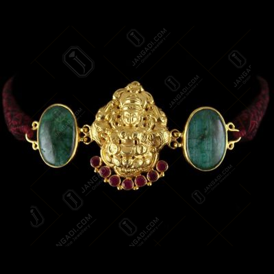Gold Plated God Design vanki Bajuband Green Onyx Stones And Thra