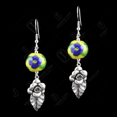 Blue Pottery Flowers Hanging Earrings