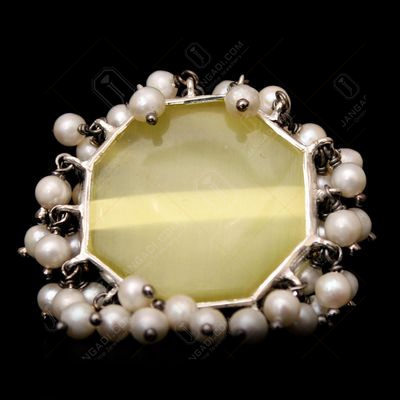 STERLING SILVER MONALISA STONE AND PEARL RING