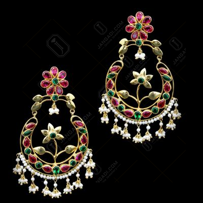 GOLD PLATED GREEN AND RED CORUNDUM WITH PEARL BEADS EARRINGS
