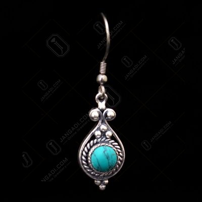 OXIDIZED SILVER TURQUOISE EARRINGS